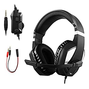 ETPARK Gaming Headset mit Mikrofon, 3.5mm Surround Sound Over-Ear-Kopfhörer für PS4 Xbox One PC Nintendo Switch Laptop Tablet Mobile Phones