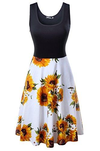 Damen Sommerkleid Ärmelloses Beiläufiges Strandkleid Tank Kleid Ausgestelltes Trägerkleid Knielang