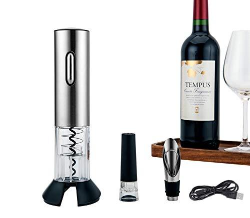 Tami Sacacorchos Eléctrico, Abridor de Botella Eléctrica para Vino, Caja de Regalo, Cortador, Tapón Silicona y Vertedor de Vino, USB Cable de Carga Acero Inoxidable