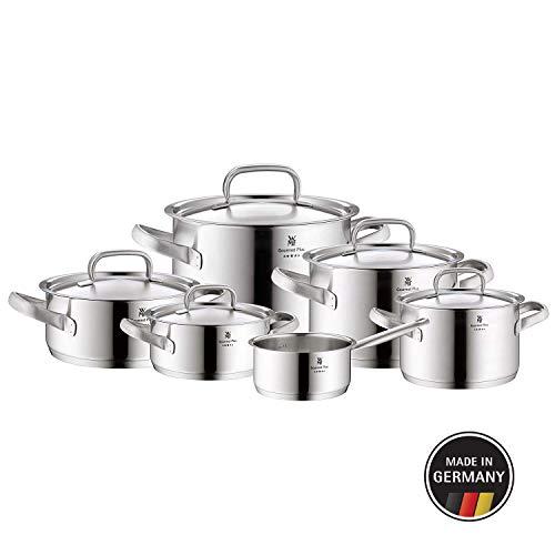 WMF Gourmet Plus Topfset 6-teilig mit Metalldeckel, Kochtopf, Stielkasserolle, Cromargan Edelstahl mattiert, Innenskalierung, Dampföffnung, induktionsgeeignet