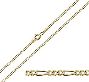 """9ct Gold Plated on 925 Sterling Silver 16"""" (41cm) 1.9mm Wide Figaro Chain In Gift Box - 2.8g"""