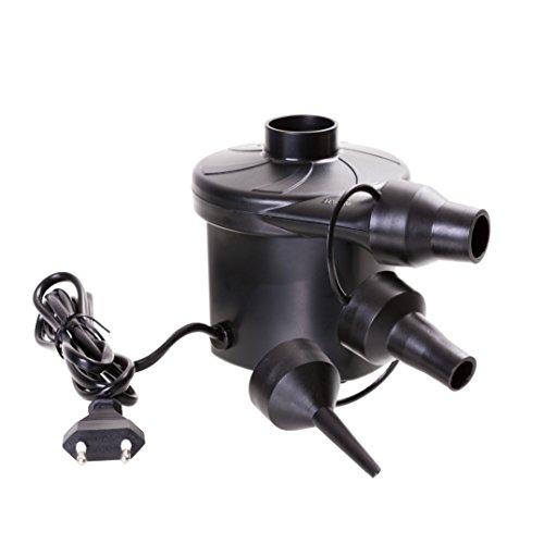 Elektrische Luftpumpe mit 3 Aufsätzen für Luftmatratzen, Schlauchboote, Gästebetten, aufblasbare Schwimmtiere, Badeinsel und Camping - Abmessungen: 10cm x 9,7cm x 12,5 cm mit 230V-Netzteil