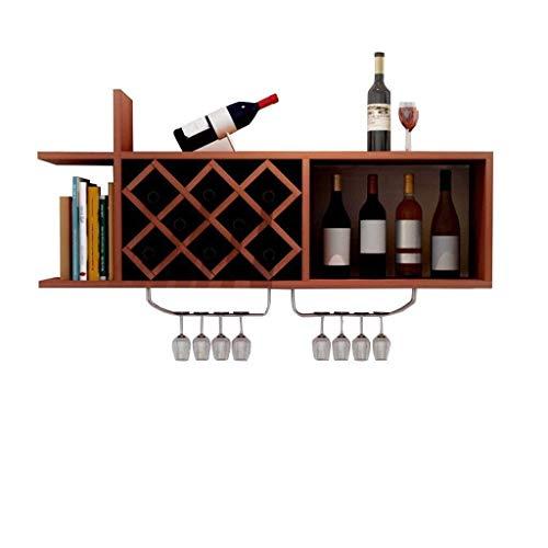 Weinregal Wandhalterung Weinregal, Holz Weinregal mit Glasflaschenhalter for Wein schwimmende Regale Regale Organizer Zähler Dekoration Verkaufsregal for Daily Home 120x23x36cm ( Color : Teak )