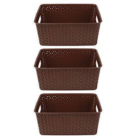 Xllent™ Multipurpose Baskets for Storage Set of 3 Pieces,Brown,Medium, B20Cm, L 26Cm,H11 cm