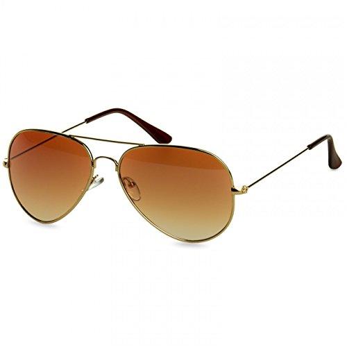 Caspar SG032 Unisex Classic RETRO Design Pilotenbrille Sonnenbrille, Farbe:gold/braun getönt