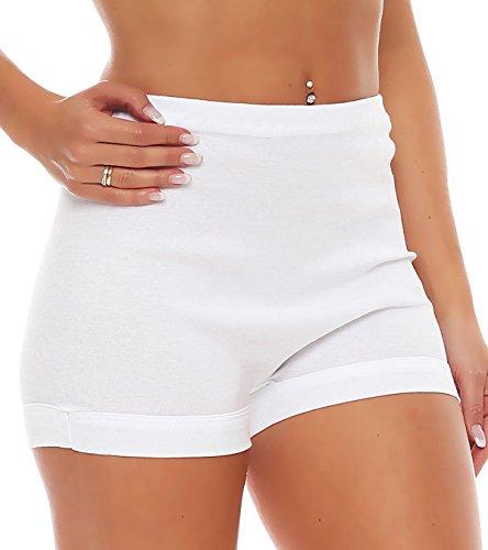 3er Pack Damen Slip mit Bein oder ohne Bein, weiß oder mit Blumen Muster (Schlüpfer, Unterhose) 438-444 (40/42, 439) - 2