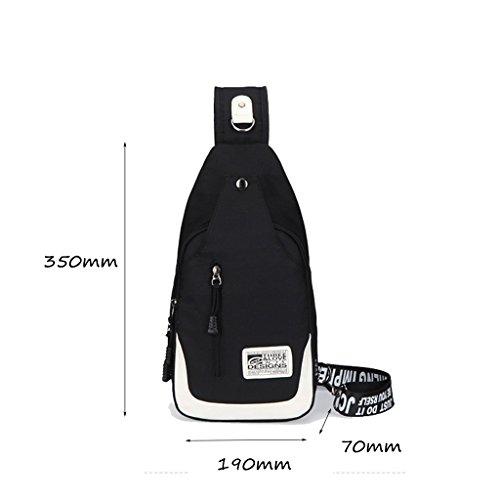 CLOTHES- Versione coreana della spalla trasversale trasversale della tela di canapa Sacchetto di cassa dell'uomo del sacchetto di viaggio di svago libero di modo ( Colore : Nero ) Nero
