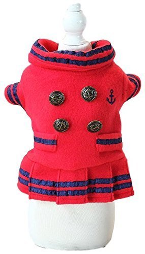 �dchen Hund Katze weich Fleece Nautisch Matrose Jacke Kostüm Kleid Outfit Winterbekleidung Kleidung XS-XL - Rot, Extra Small ()
