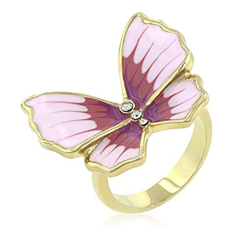 18k vergoldeter Schmetterling 3-Stein Ring Crystalle und lilafarbene Emaille Gold