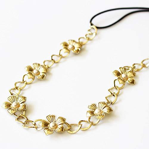 Süße und schlichte Kopfbedeckung Perlenblume Goldene Haarband Stirnband Haarschmuck Weibliche Perle Blume Gold Haarband Haarband Haar. Kindertagesgeschenk Hochzeitsdekoration