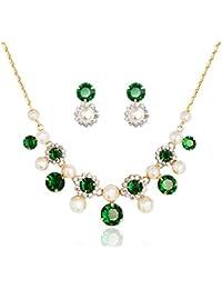NEOGLORY Conjunto Collar Pendientes con GENUINAS PIEDRAS SWAROVSKI Circonitas Verde Joya Original Mujer