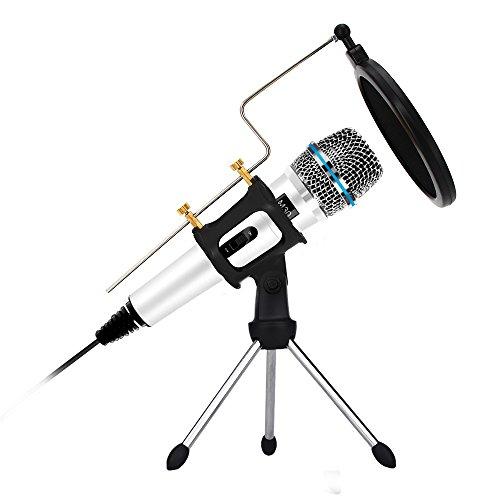 xiaokoa profesión PC Micrófono, micrófono de grabación Micrófono de condensador para la computadora, para teléfono, ordenador, iPad, Podcasting, chatear en línea como facebook, MSN, SKYPE, con cable de audio (white)