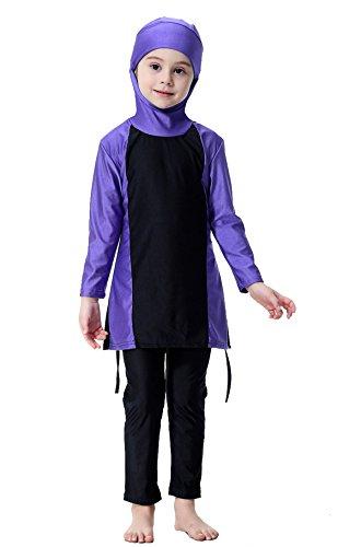 GladThink Mädchen Muslim Bescheiden Lange Ärmel Bademode Strandkleidung Lila #160