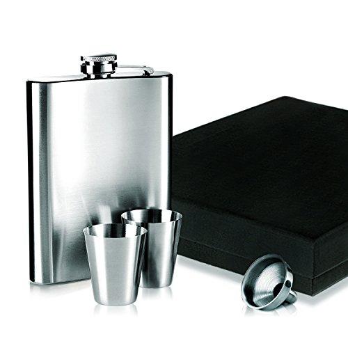 Firlar 7in acciaio inox 304(18/8Oz Fiaschetta e Imbuto Set Regalo con mini imbuto Vodka Whisky-A prova di perdite, con imbuto e scatola regalo (7once capacità in omaggio)