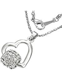 Mode Kristall Spinnrohr offen Liebe Herz Charm Halskette mit Zirkon - Weiß