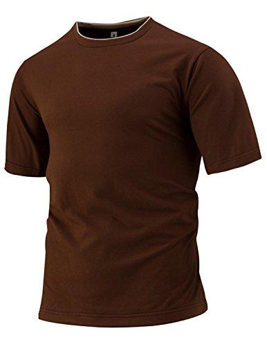 YCHENG Herren Kurzarm Rundhals Slim Fit Basic T-Shirt Oberteil in Vielen Farben Braun