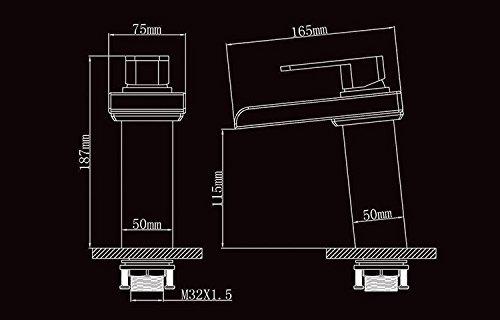 Bonade® LED Farbewechsel Wasserhahn Wasserfall Waschtischarmatur Einhebelmischer Bad Armatur für Badenzimmer Waschbecken - 5