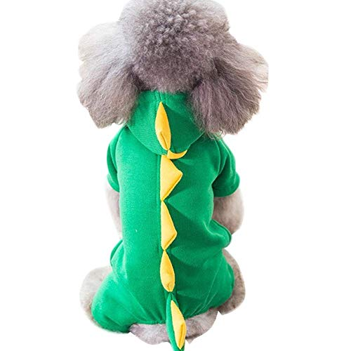 HYLH Lovely Pet Dinosaur Clothing Applicable Small and Medium Sized Dogs Pet Coat Hoodie Green Yellow Color (Size : (Dinosaur Pet Kostüm)
