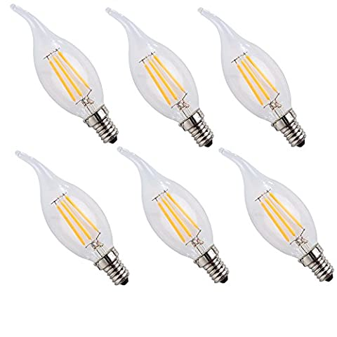 WULUN E14 4W LED Filament Candle Light Bulb, Warm White 2700K ,40W Equivalent Incandescent Replacement, Pendant Lighting- 6 Pack [Energy Class A++]