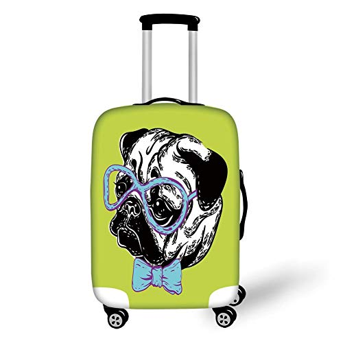 Travel Luggage Cover Suitcase Protector,Pug,Cute Dog with a Bow Tie and Nerdy Glasses on Yellow Backdrop Funny Comic Image Decorative,Yellow Blue Black,for Travel -