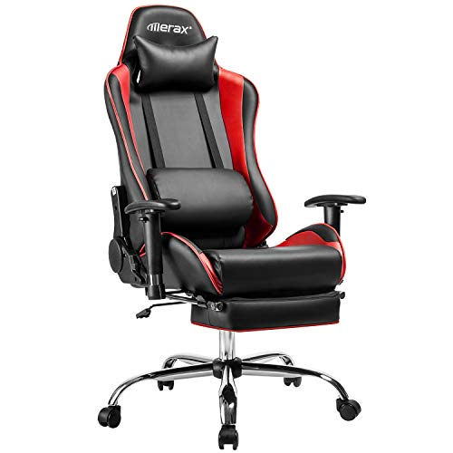 Merax Gaming Stuhl Racing Stuhl Chefsessel Ergonomisches Design Bürostuhl PU-Leder Drehstuhl Höhenverstellbarer Schreibtischstuhl Computerstuhl mit Verstellbaren Armlehnen und Fußstütze (Rot)