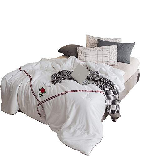 YAJAN-Duvet Daunensteppdecke aus Satin bestickter Steppdecke im europäischen Stil Vier Jahreszeiten-Decke Raumdecke doppelt verdicken warme antibakterielle Bettwäsche