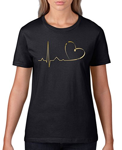 Comedy Shirts - Pulsschlag Herz - Damen T-Shirt - Schwarz/Gold Gr. L