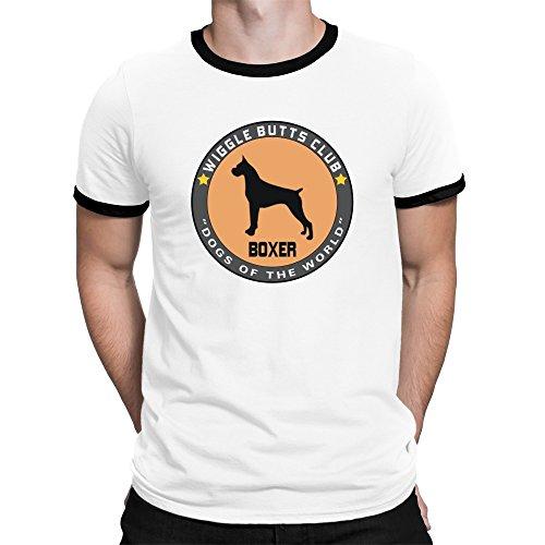 Teeburon Boxer WIGGLE BUTTS CLUB Ringer T-Shirt