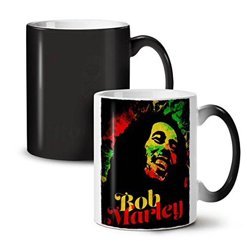 Marley Bob Gras Rasta SchwarzSchwarz Farbe Ändern Tee Kaffe Keramik Farbwechselbecher 11 | Wellcoda (Farbe Rasta Marley Bob)