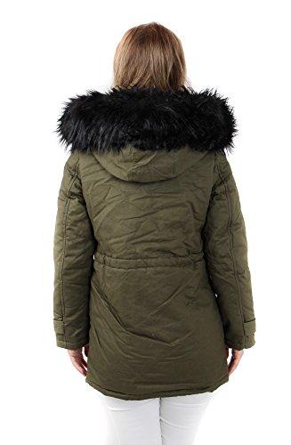 Freshlions Damen Parka Khaki mit herausnehmbarer XXL Fellblende aus Kunstfell Schwarz