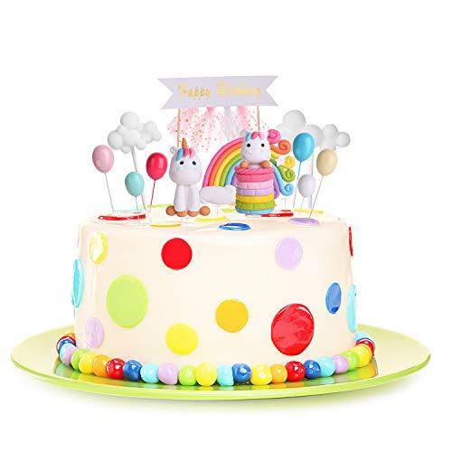 KATELUO Einhorn tortendekoration,Tortendeko Einhorn,Geburtstag Kuchen Regenbogen Happy Birthday Girlande Luftballon Wolke Hochzeit Backen Dekoration Lieferungen (11 Stück)