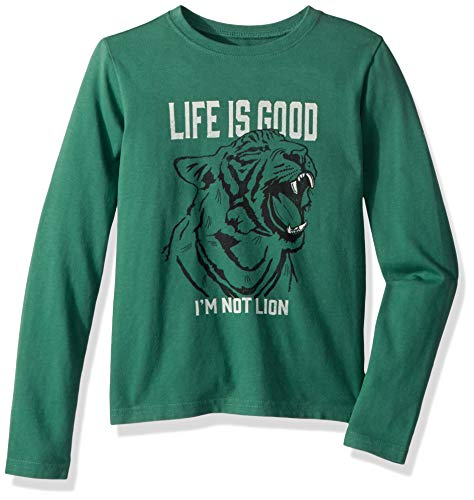 Life Is Good Jungen Crusher Longsleeve Tee I 'm Nicht Löwe, Jungen, 53384, waldgrün, XL - Life Is Good Boys T-shirt