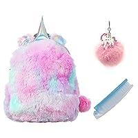 TIGOR Cute Plush Unicorn Backpack, Mini Unicorn Backpack, 3D Unicorn Backpack, Soft Rainbow Backbag Sweet Girls Daughter Gifts