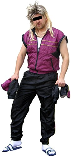 baren Ärmeln - 80er Jahre Trainingsanzug 80s Retro echter Jogginganzug Kleidung (Lila-Schwarz, M) (80's Kostüm Männer)