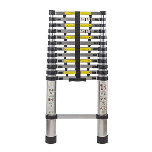 Smartlife 12,5 Ft Erweiterbar Teleskop Aluminium Tragbare Leiter mit Finger Schutz Spacer, Teleskop Leiter