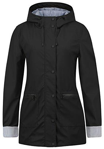DESIRES Becky Damen Regenmantel Übergangsjacke Funktions-Jacke mit Kapuze aus hochwertigem Material, Größe:XL, Farbe:Black (9000)