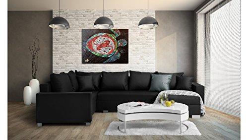 JUSTyou Felisia Canapé d'angle panoramique Sofa Ensemble de Salon Simili Cuir (lxLxH): 145-206x303x86 cm Noir Angle Droit