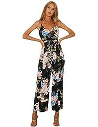 Tshirt Oberteile Damen Elegant Sommer Kurzarm Strappy Floral Schlitz Lange  Hosen Playsuits Jumpsuit Urlaub a391c2f8c5