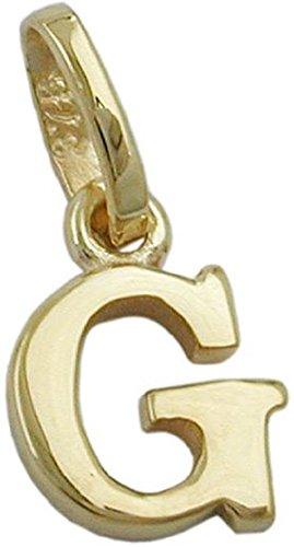 Unbespielt Goldanhänger Unisex Kettenanhänger Anhänger für Halskette Damen und Herren Buchstabe G aus 9 kt 375 9 kt Gelbgold 8 x 6 mm inkl. Schmuckbox inkl. kleiner Box