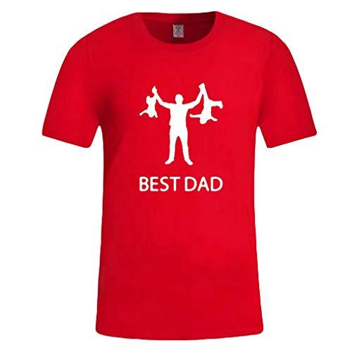 BHYDRY Herren Sommer Casual Print Kurzarm T-Shirt Geschenk für die weltbesten DAD Tops(Small,Rot