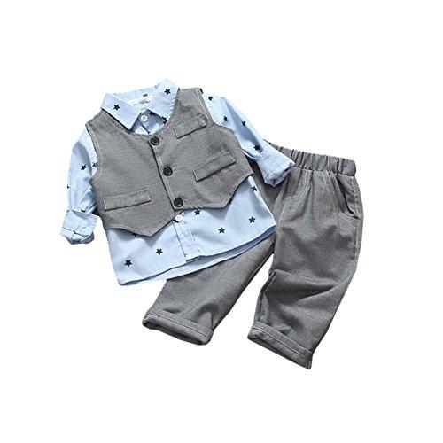 [Babyanzug Jungen Gentleman] 3 pcs Hemd + Weste + Hose Bekleidungsset Baby Kleinkind Kinderanzug Junge Anzug Kleikind 90