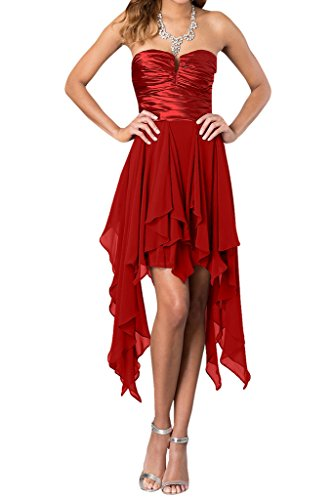 Ivydressing Damen Hi-Lo Traegerlos Chiffon Ballkleid Promkleid Abendkleider Rot