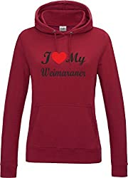 I Love Heart My Weimaraner Dog Red Hot Chilli Womens Hoodie With Black Text & Red Heart