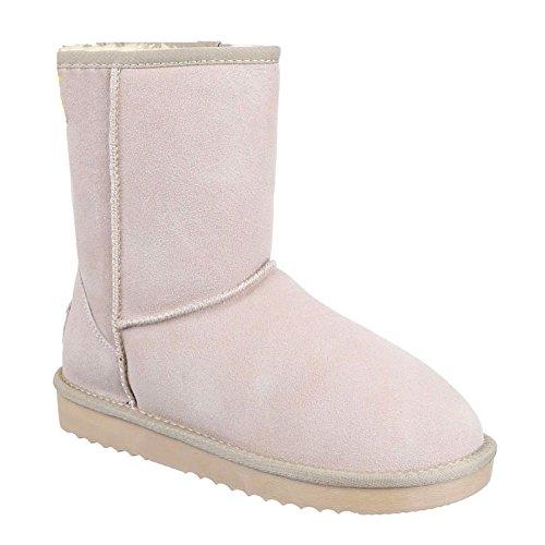 Damen Stiefeletten Schnee Stiefel Boots Flache Schlupfstiefel Warm Gefüttert Winter Schuhe 58 Beige
