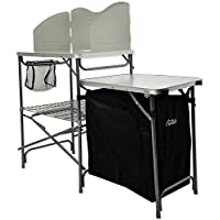 Andes Camping Field Kitchen Worktop Table Stand With Cupboard & Windshield 30
