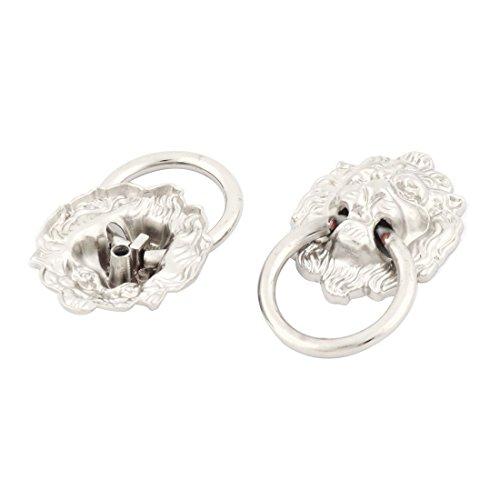 Preisvergleich Produktbild sourcingmap 2 Stück Metall Lion Kopf geformt Schublade Schrank Tür Ring Pull Griff Silber