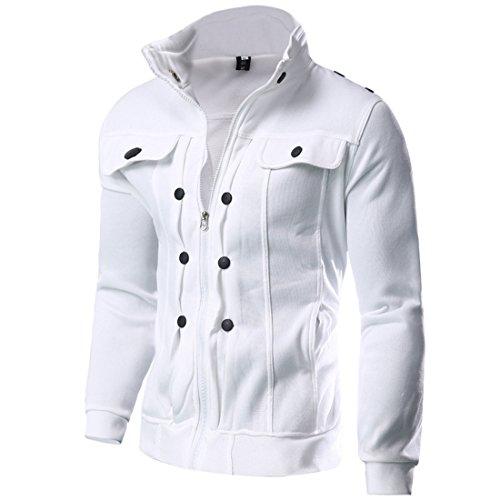 ZQ@QXL Europa e gli Stati Uniti uomini cappotto invernale maglione cashmere slim confortevole White