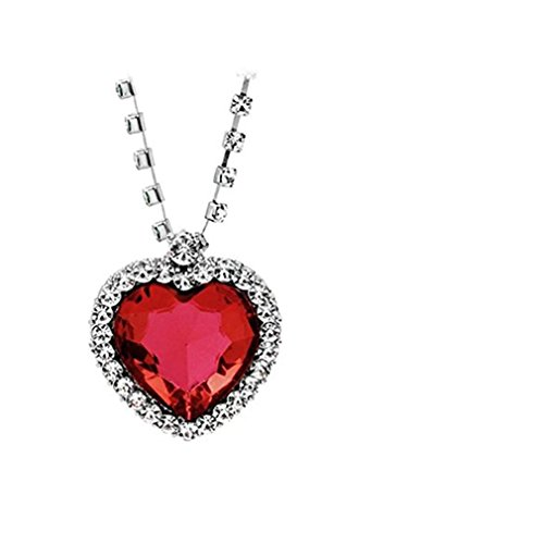 waroomvan Clearance Deals Classic Luxus Frauen Herz Kristall Strass Silber Kette Anhänger Halskette Schmuck Romantische Geschenk-; necklacexff1a; Farbe Rot