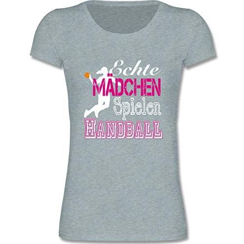 Sport Kind - Echte Mädchen Spielen Handball weiß - 134-146 (9-11 Jahre) - Blau/Grau meliert - F288K - Mädchen T-Shirt