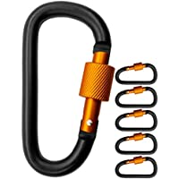 Outdoor Saxx® – 5 mosquetones de tornillo grandes, ganchos de mosquetón para fijación de equipos, aluminio, 8 cm, negro y naranja, 5 unidades